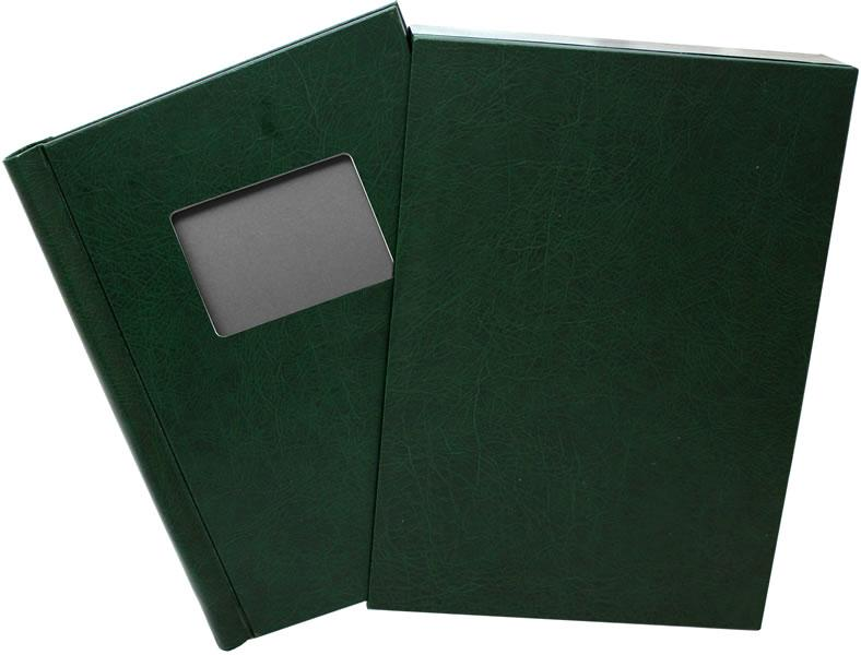 Leather Effect Window Springback Binders with Slip Cases