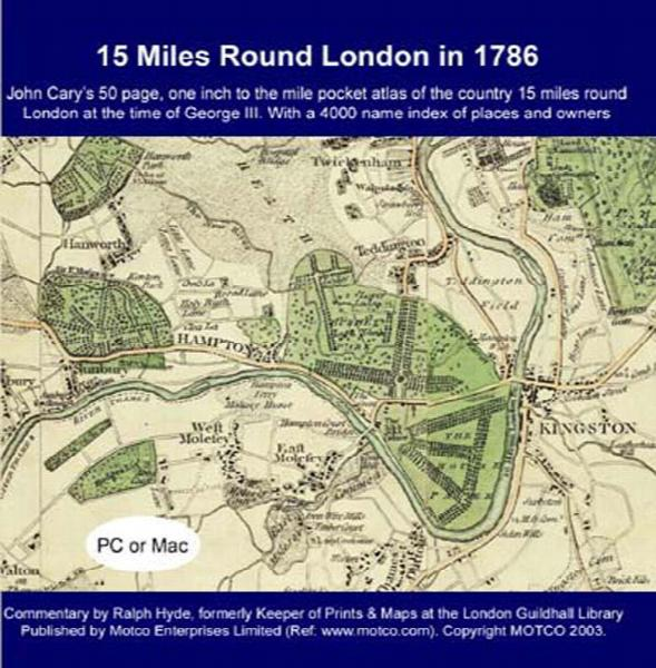 15 Miles Round  London in 1786 - Map CD