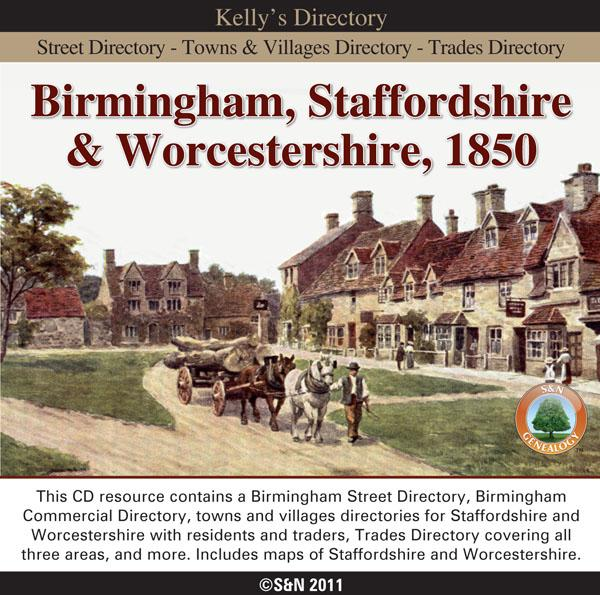 Birmingham, Staffordshire & Worcestershire, 1850 Kelly's Directory