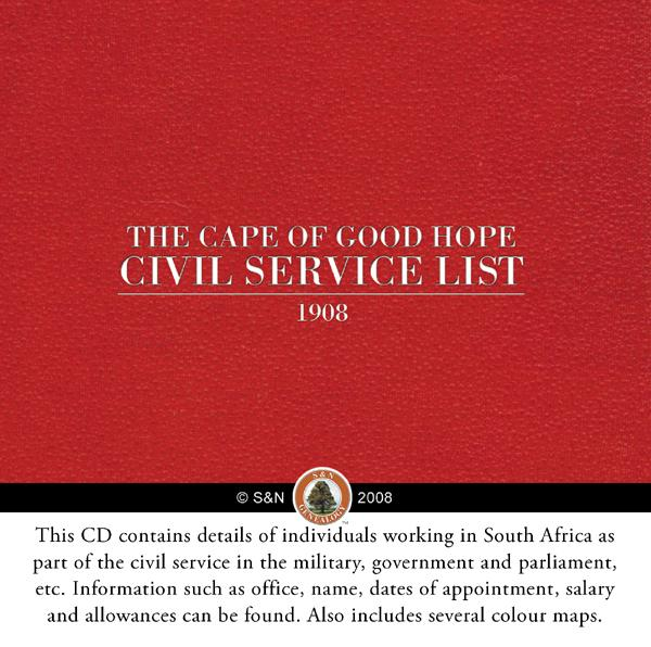 Cape of Good Hope Civil Service List - 1908