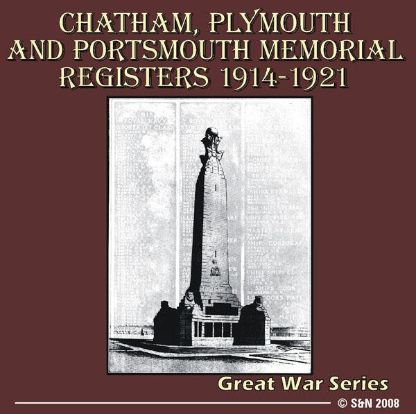 Devon, Hampshire, Kent - Chatham, Plymouth and Portsmouth  Memorial Registers 1914-1921