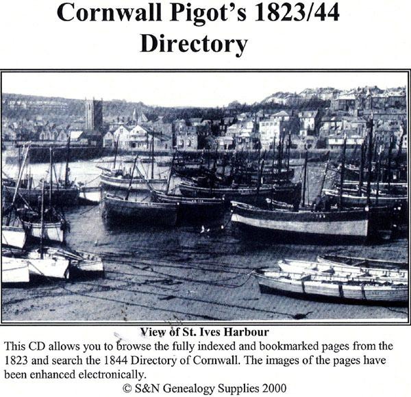 Cornwall  1823 and 1844 Pigot's Directory