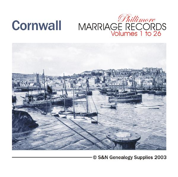Cornwall Phillimore Parish Records (Marriages) Volumes 01 to 26 on one CD