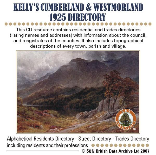 Cumberland & Westmorland  Kelly's 1925 Directory