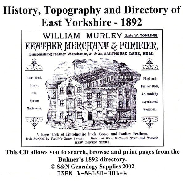 Yorkshire, Bulmer's Topography, History and Directory (Private & Commercial) of East Yorkshire 1892.