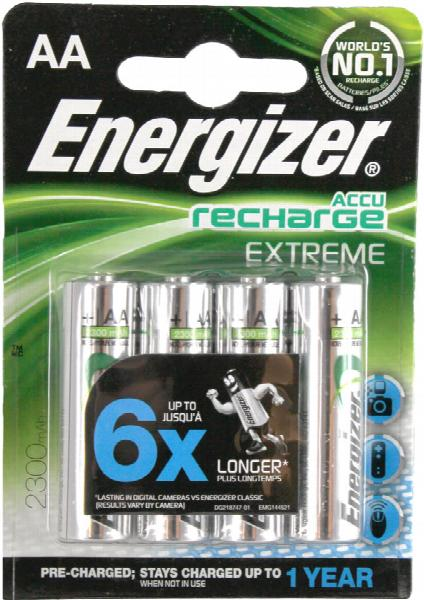 Energizer AA Batteries Accu Recharge - Pack of 4