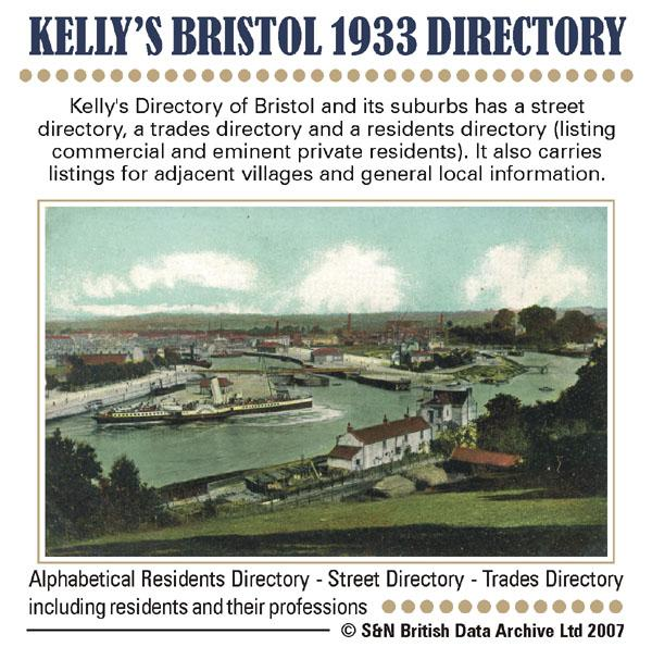 Gloucestershire, Bristol 1933 Kelly's Directory
