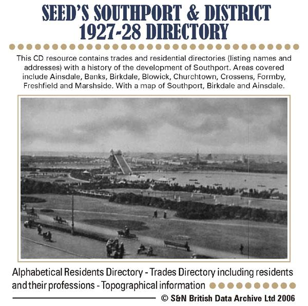 Lancashire, Seed's Southport & District 1927-28 Directory