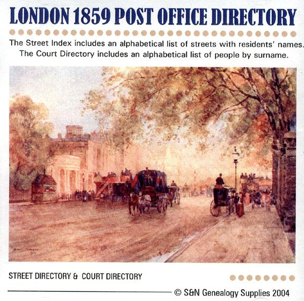London 1859 -  Kelly's Post Office Directory
