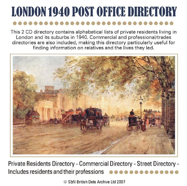 London 1940 Post Office Directory