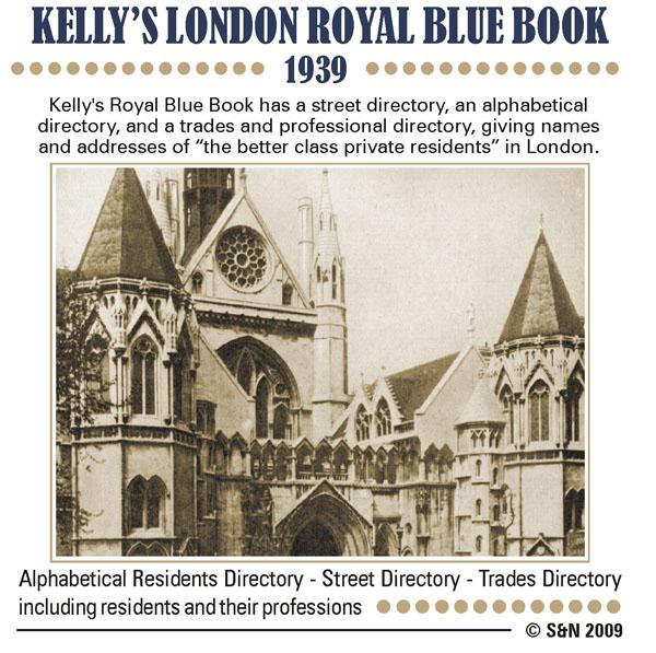 London, Kelly's Royal Blue Book 1939