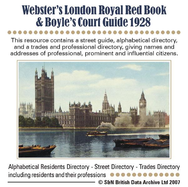 London,  Webster's London Royal Red Book & Boyle's Court Guide 1928