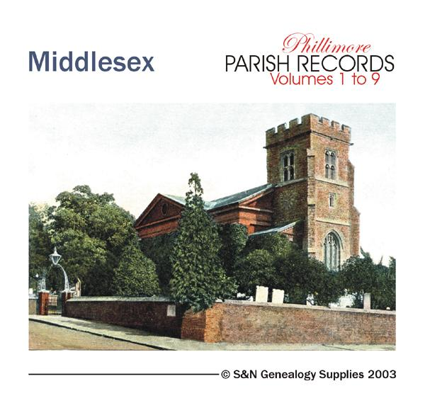 Middlesex Phillimore Parish Records (Marriages) Volumes 01 to 09 on one CD