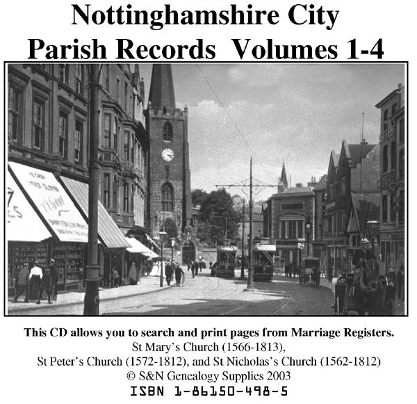 Nottingham City Phillimore Marriages Vols 1 to 4 on one CD