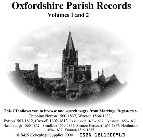 Oxfordshire Phillimore Parish Records (Marriages) Volumes 01 and 02 on one CD