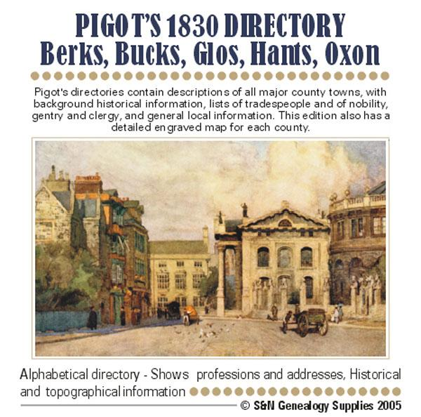 Berkshire, Buckinghamshire, Gloucestershire, Hampshire and Oxfordshire Pigot's 1830 Directory