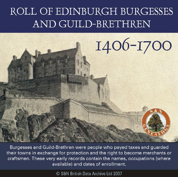 Scotland, Roll of Edinburgh Burgesses and Guild-Brethren 1406-1700