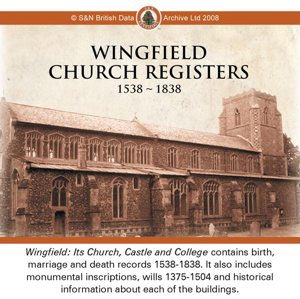 Suffolk, Wingfield Church Parish Registers 1538-1838