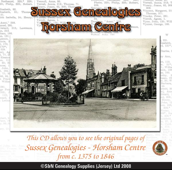 Sussex Genealogies - Horsham Centre c. 1375 to 1846