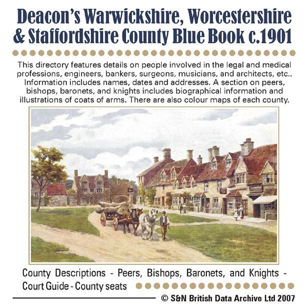 Warwickshire, Worcestershire and Staffordshire Deacon's c1901 County Blue Book