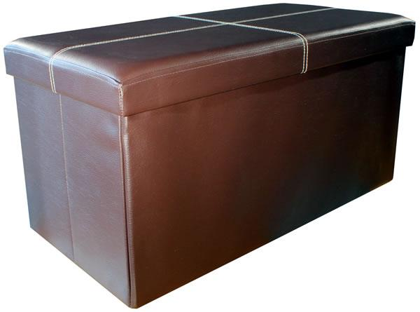 Faux Leather Folding Storage Box - Large
