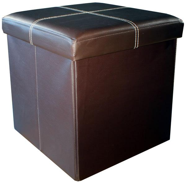 Faux Leather Folding Storage Box - Medium