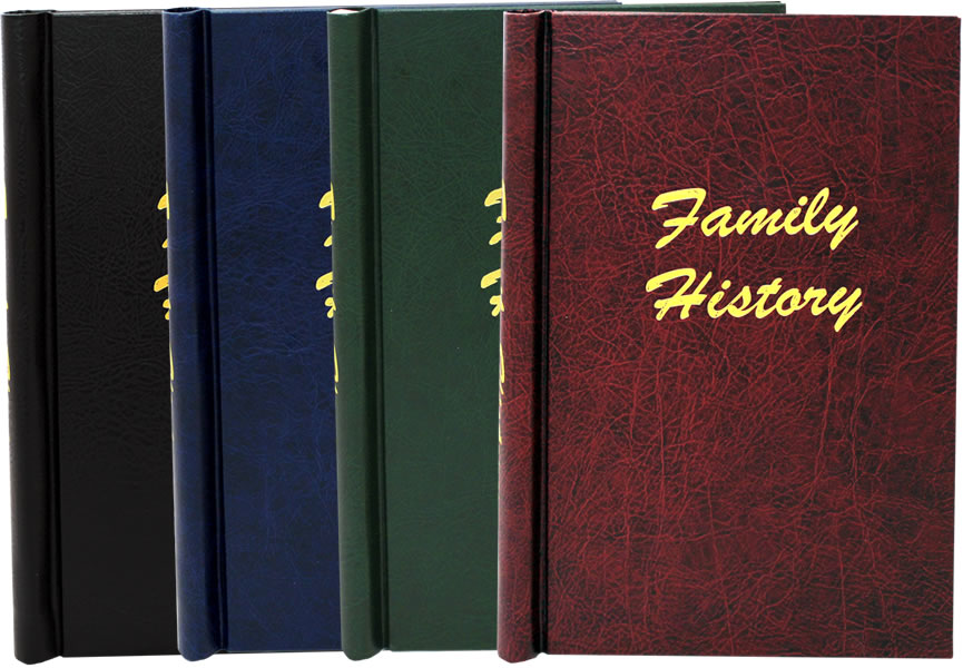 Leather Effect Family History Springback Binders