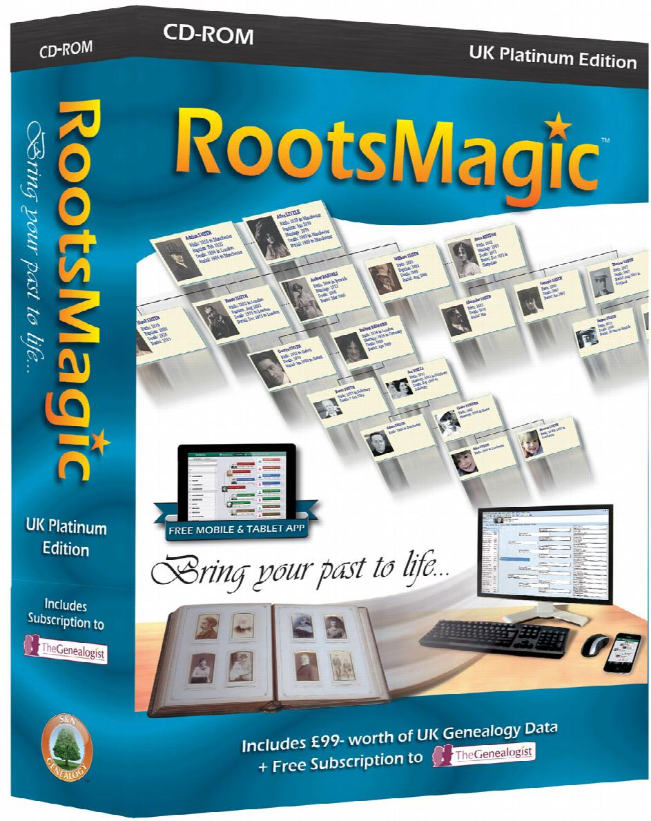 RootsMagic UK Version 7 Platinum Edition + Free Regional Research Guidebook  & Online Magazine worth over £34